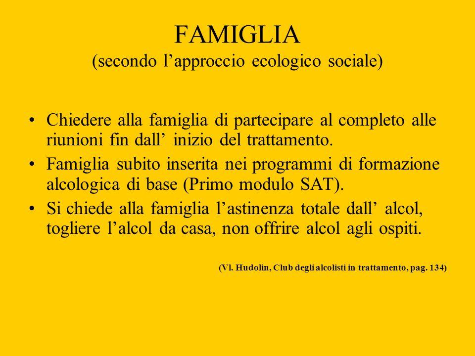 FAMIGLIA (secondo lapproccio ecologico sociale) Chiedere alla famiglia di partecipare al completo alle riunioni fin dall inizio del trattamento. Famig