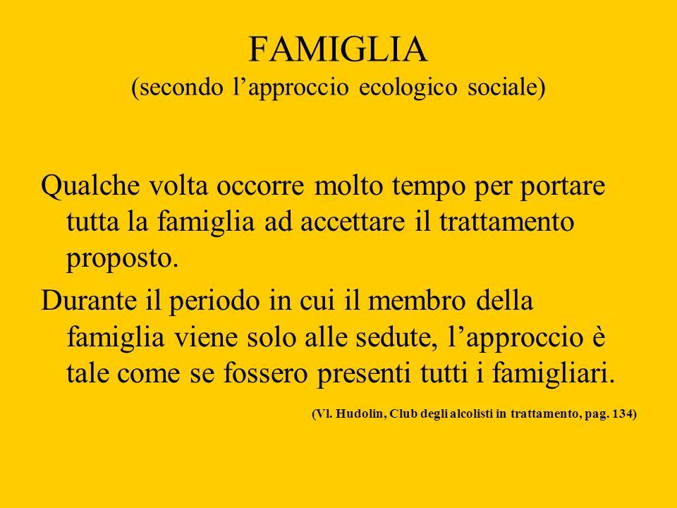 FAMIGLIA (secondo lapproccio ecologico sociale) Qualche volta occorre molto tempo per portare tutta la famiglia ad accettare il trattamento proposto.