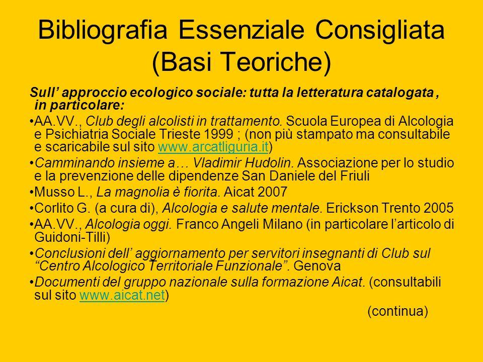 Bibliografia Essenziale Consigliata (Basi Teoriche) Sull approccio ecologico sociale: tutta la letteratura catalogata, in particolare: AA.VV., Club de