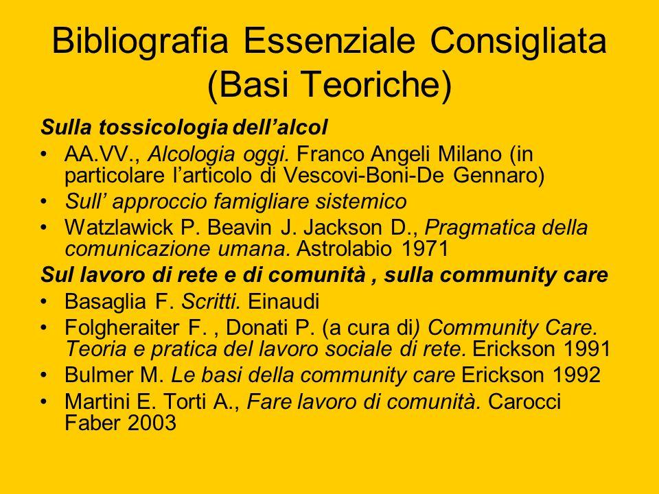 Bibliografia Essenziale Consigliata (Basi Teoriche) Sulla tossicologia dellalcol AA.VV., Alcologia oggi. Franco Angeli Milano (in particolare larticol