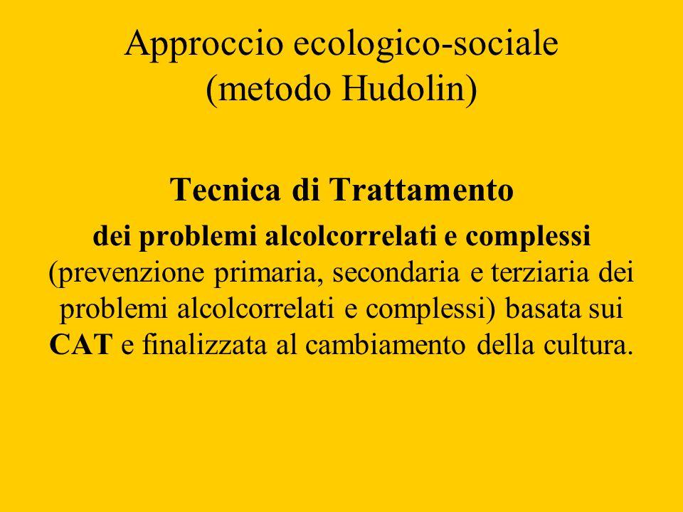 Approccio ecologico-sociale (metodo Hudolin) Tecnica di Trattamento dei problemi alcolcorrelati e complessi (prevenzione primaria, secondaria e terzia