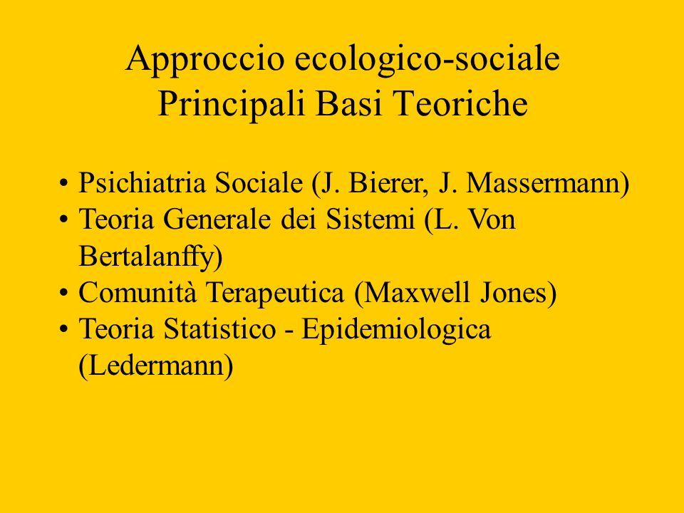 Approccio ecologico-sociale Principali Basi Teoriche Psichiatria Sociale (J. Bierer, J. Massermann) Teoria Generale dei Sistemi (L. Von Bertalanffy) C