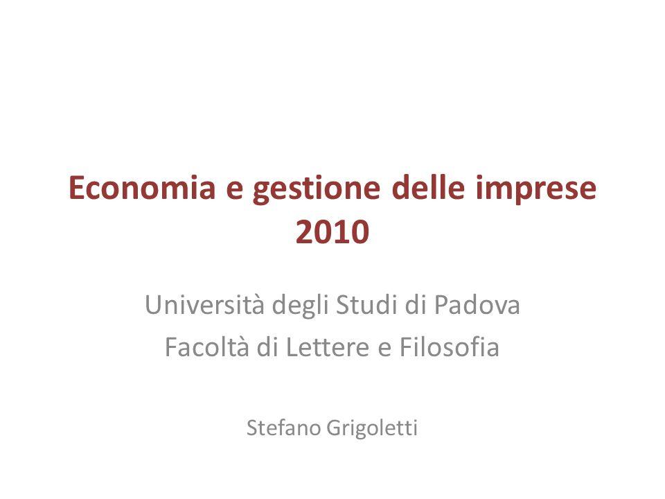 Economia e gestione delle imprese 2010 Università degli Studi di Padova Facoltà di Lettere e Filosofia Stefano Grigoletti