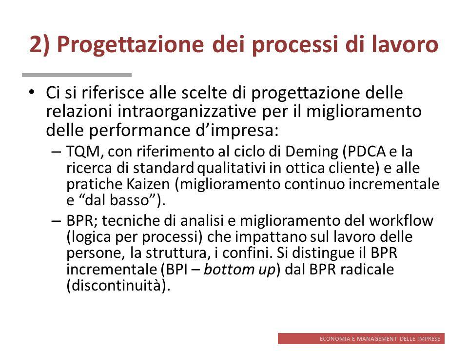 ECONOMIA E MANAGEMENT DELLE IMPRESE 2) Progettazione dei processi di lavoro Ci si riferisce alle scelte di progettazione delle relazioni intraorganizz