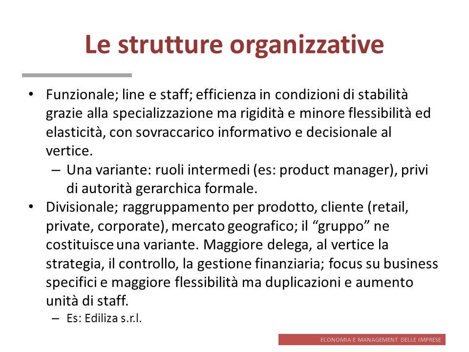 ECONOMIA E MANAGEMENT DELLE IMPRESE Le strutture organizzative Funzionale; line e staff; efficienza in condizioni di stabilità grazie alla specializza