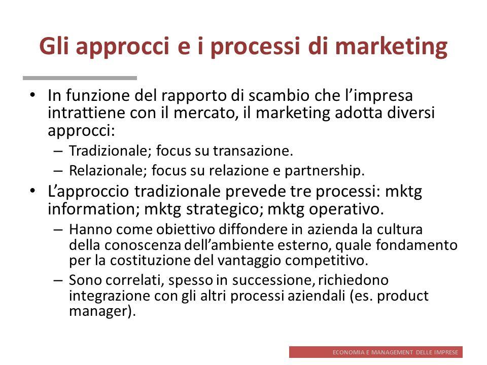 ECONOMIA E MANAGEMENT DELLE IMPRESE Gli approcci e i processi di marketing In funzione del rapporto di scambio che limpresa intrattiene con il mercato