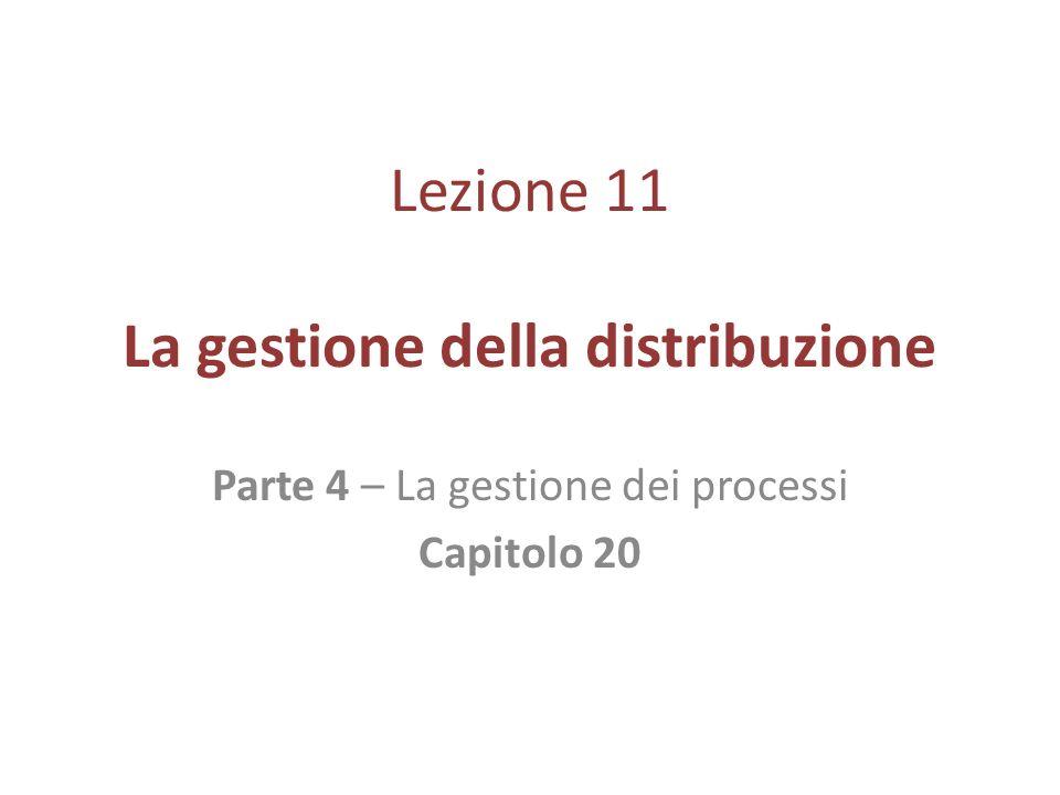 Lezione 11 La gestione della distribuzione Parte 4 – La gestione dei processi Capitolo 20