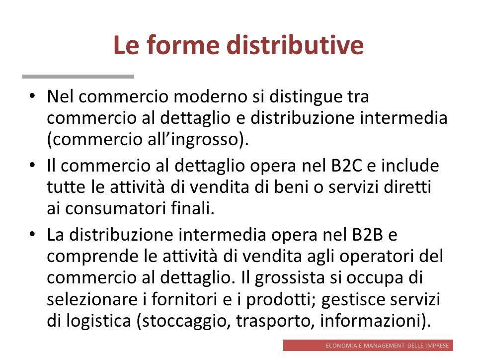 ECONOMIA E MANAGEMENT DELLE IMPRESE Le forme distributive Nel commercio moderno si distingue tra commercio al dettaglio e distribuzione intermedia (co