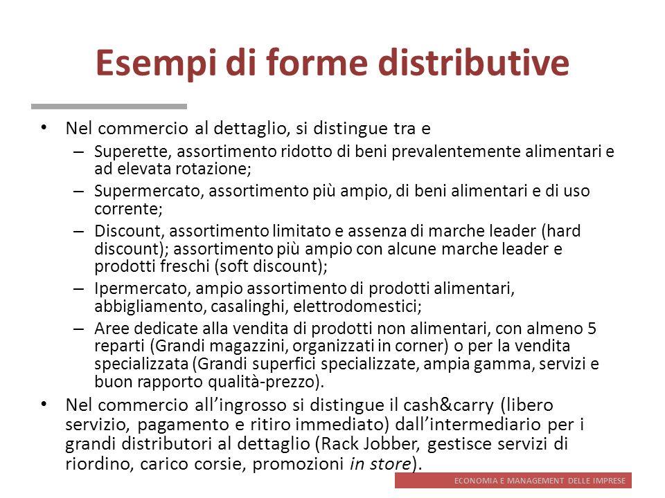 ECONOMIA E MANAGEMENT DELLE IMPRESE Esempi di forme distributive Nel commercio al dettaglio, si distingue tra e – Superette, assortimento ridotto di b