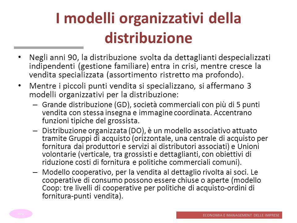 ECONOMIA E MANAGEMENT DELLE IMPRESE I modelli organizzativi della distribuzione Negli anni 90, la distribuzione svolta da dettaglianti despecializzati