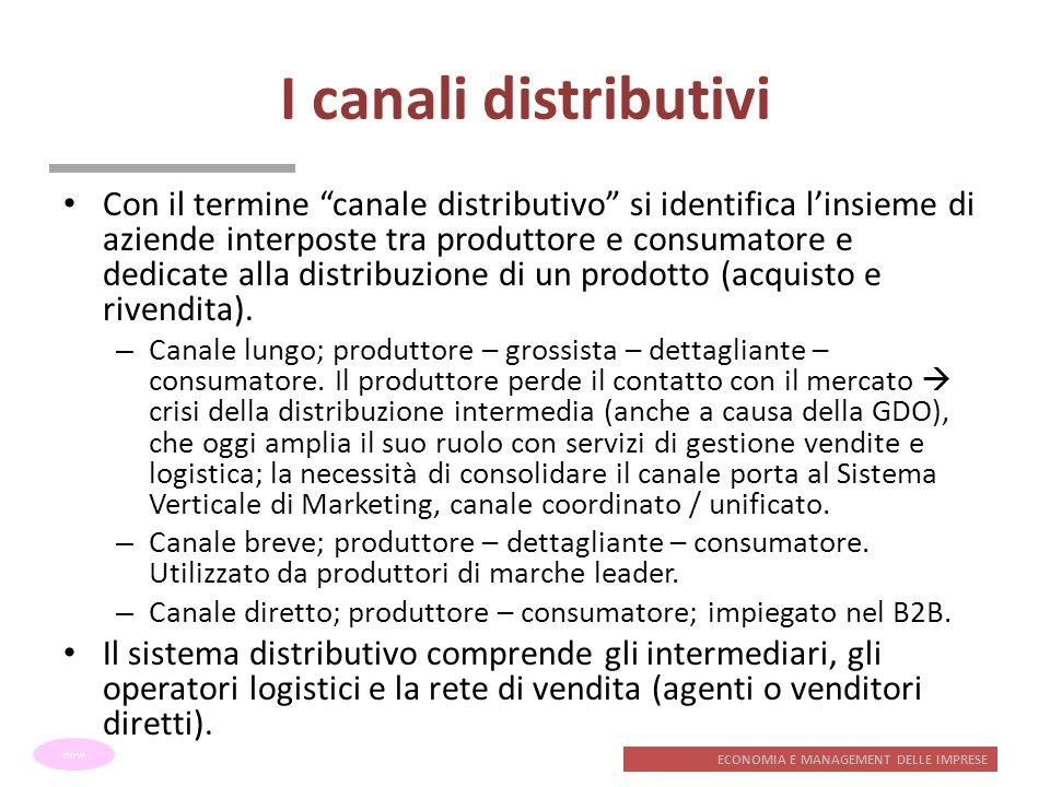 ECONOMIA E MANAGEMENT DELLE IMPRESE I canali distributivi Con il termine canale distributivo si identifica linsieme di aziende interposte tra produtto