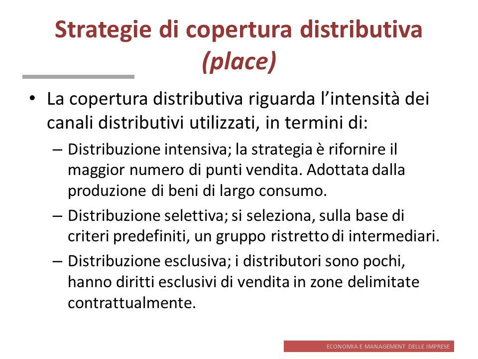 ECONOMIA E MANAGEMENT DELLE IMPRESE Strategie di copertura distributiva (place) La copertura distributiva riguarda lintensità dei canali distributivi