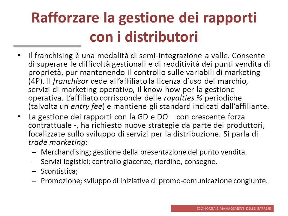 ECONOMIA E MANAGEMENT DELLE IMPRESE Rafforzare la gestione dei rapporti con i distributori Il franchising è una modalità di semi-integrazione a valle.