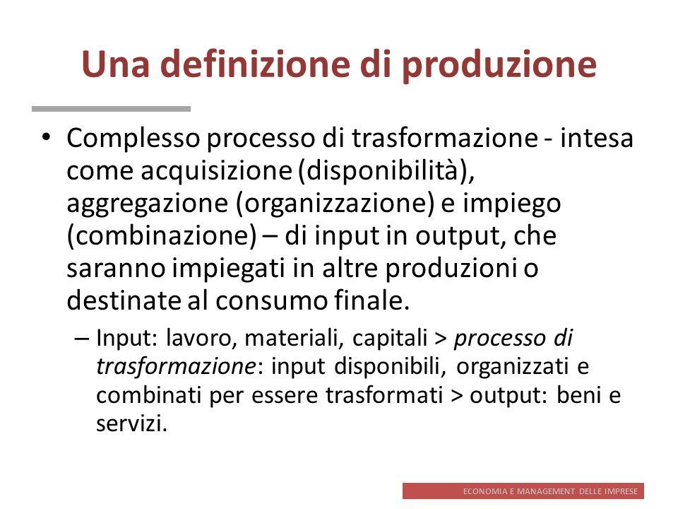 ECONOMIA E MANAGEMENT DELLE IMPRESE Una definizione di produzione Complesso processo di trasformazione - intesa come acquisizione (disponibilità), agg