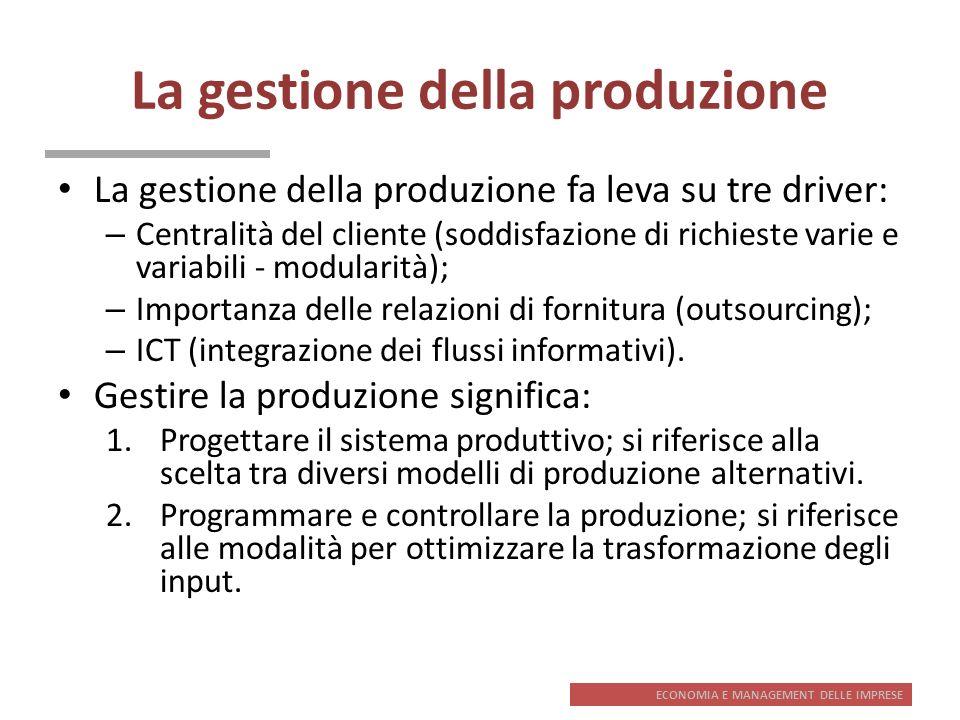 ECONOMIA E MANAGEMENT DELLE IMPRESE La gestione della produzione La gestione della produzione fa leva su tre driver: – Centralità del cliente (soddisf