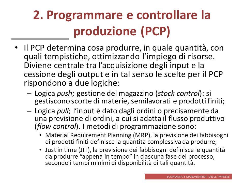 ECONOMIA E MANAGEMENT DELLE IMPRESE 2. Programmare e controllare la produzione (PCP) Il PCP determina cosa produrre, in quale quantità, con quali temp