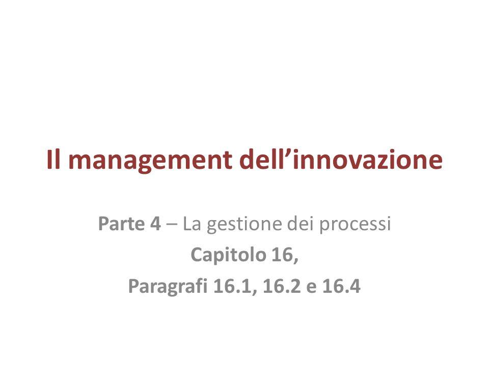 Il management dellinnovazione Parte 4 – La gestione dei processi Capitolo 16, Paragrafi 16.1, 16.2 e 16.4