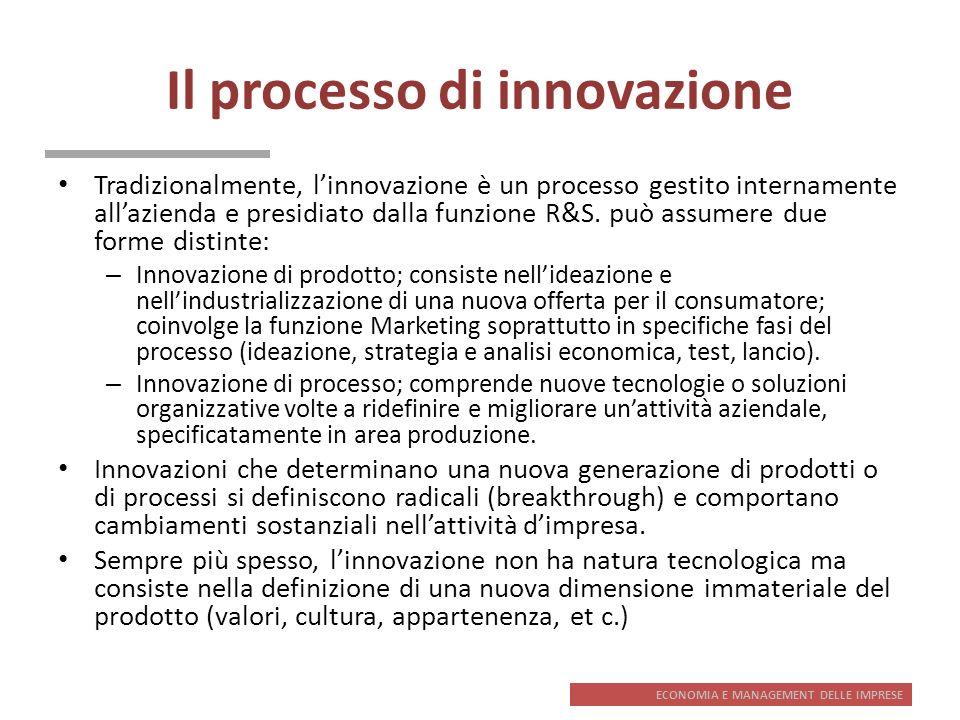 ECONOMIA E MANAGEMENT DELLE IMPRESE Il processo di innovazione Tradizionalmente, linnovazione è un processo gestito internamente allazienda e presidia