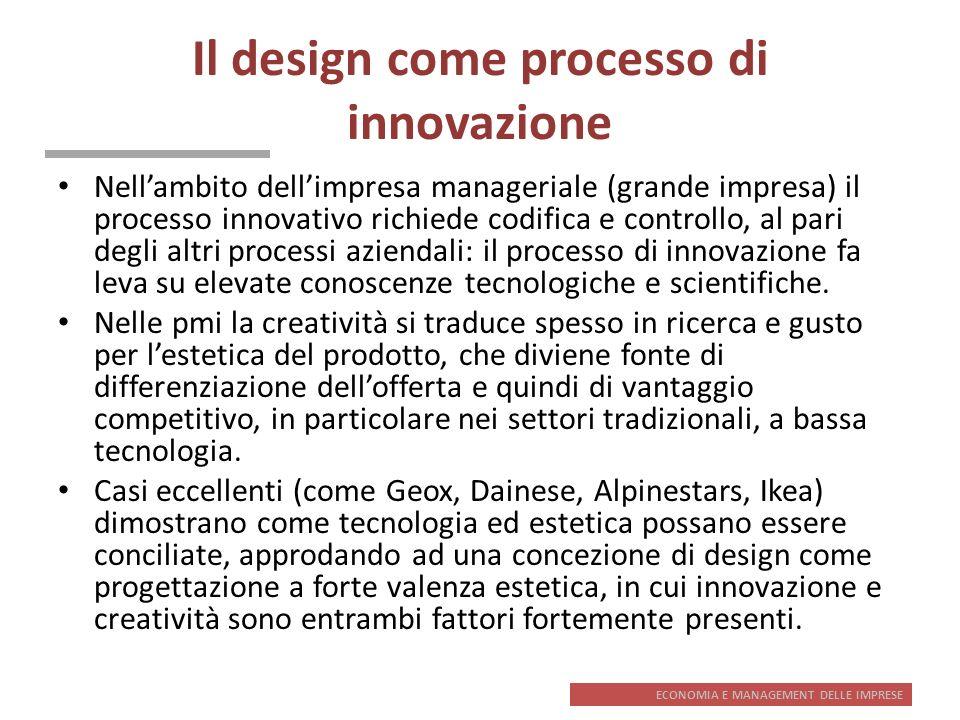 ECONOMIA E MANAGEMENT DELLE IMPRESE Il design come processo di innovazione Nellambito dellimpresa manageriale (grande impresa) il processo innovativo