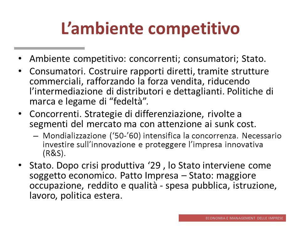 ECONOMIA E MANAGEMENT DELLE IMPRESE Lambiente competitivo Ambiente competitivo: concorrenti; consumatori; Stato. Consumatori. Costruire rapporti diret