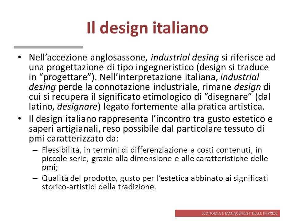 ECONOMIA E MANAGEMENT DELLE IMPRESE Il design italiano Nellaccezione anglosassone, industrial desing si riferisce ad una progettazione di tipo ingegne
