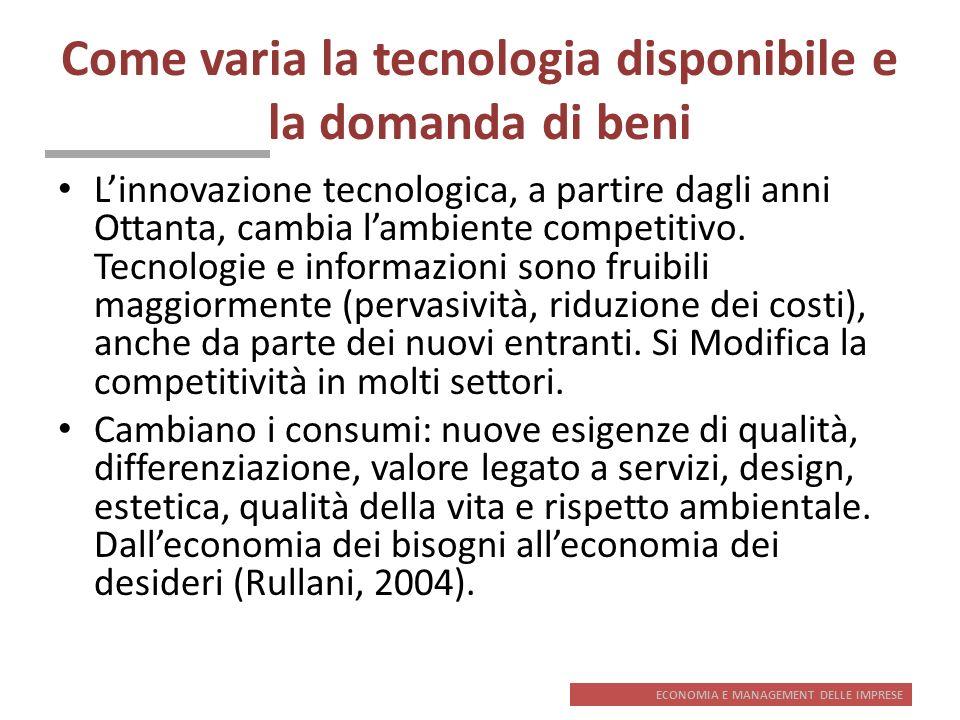ECONOMIA E MANAGEMENT DELLE IMPRESE Come varia la tecnologia disponibile e la domanda di beni Linnovazione tecnologica, a partire dagli anni Ottanta,