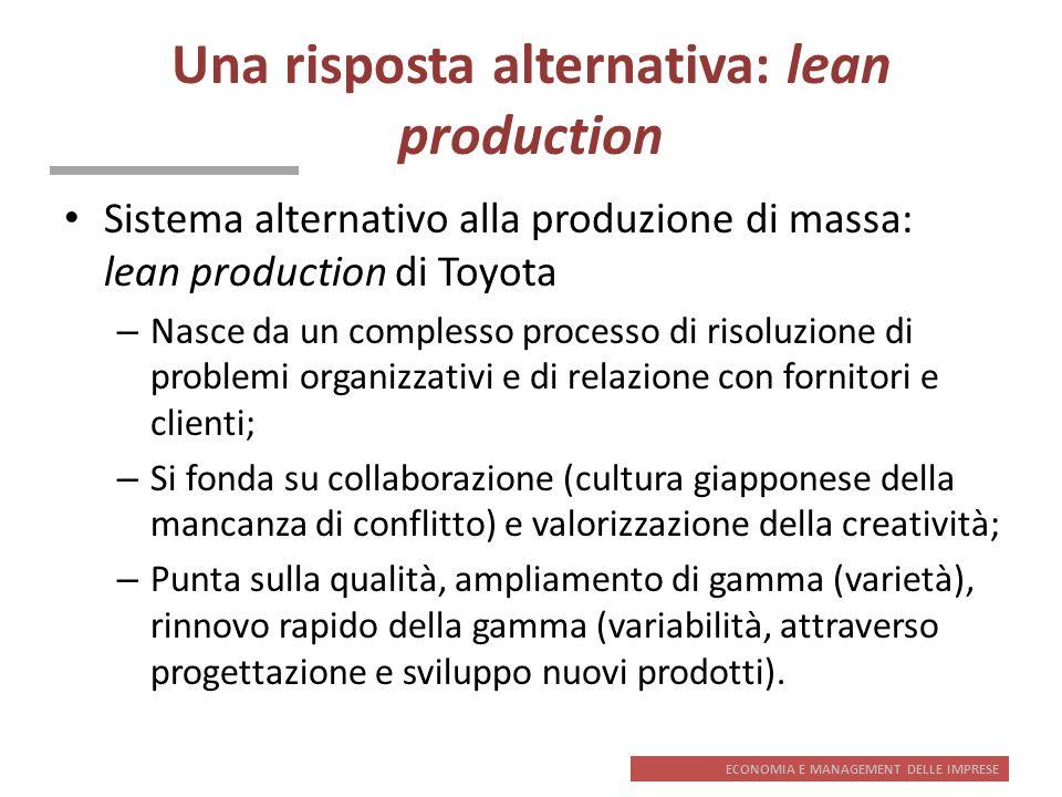 ECONOMIA E MANAGEMENT DELLE IMPRESE Una risposta alternativa: lean production Sistema alternativo alla produzione di massa: lean production di Toyota