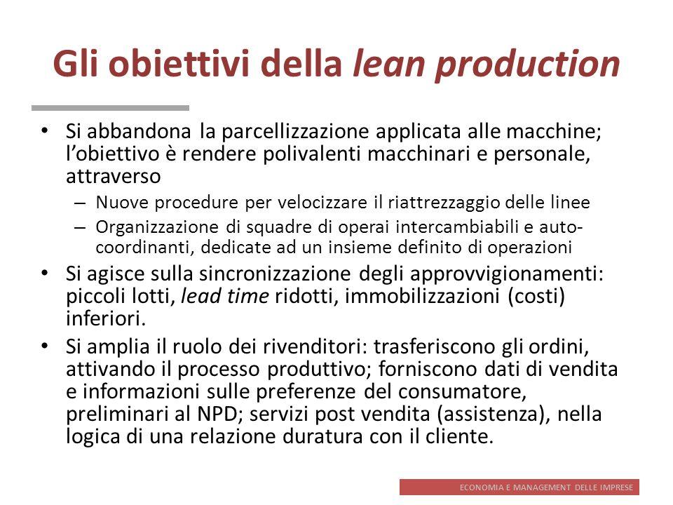 ECONOMIA E MANAGEMENT DELLE IMPRESE Gli obiettivi della lean production Si abbandona la parcellizzazione applicata alle macchine; lobiettivo è rendere