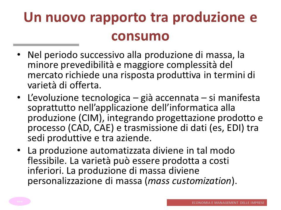 ECONOMIA E MANAGEMENT DELLE IMPRESE Un nuovo rapporto tra produzione e consumo Nel periodo successivo alla produzione di massa, la minore prevedibilit
