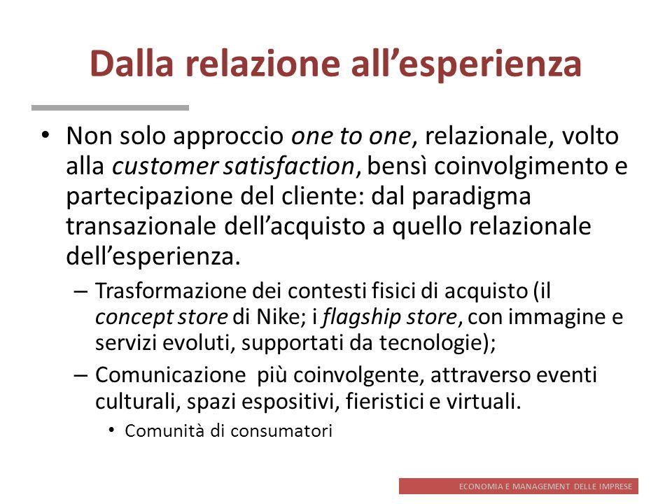 ECONOMIA E MANAGEMENT DELLE IMPRESE Dalla relazione allesperienza Non solo approccio one to one, relazionale, volto alla customer satisfaction, bensì