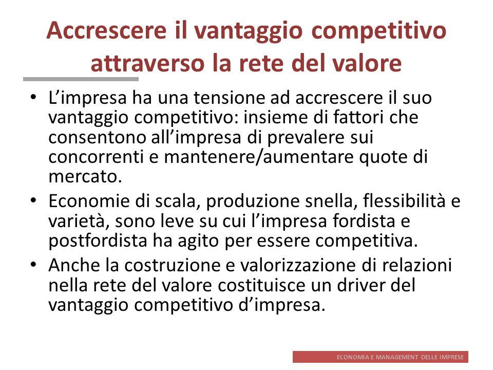 ECONOMIA E MANAGEMENT DELLE IMPRESE Accrescere il vantaggio competitivo attraverso la rete del valore Limpresa ha una tensione ad accrescere il suo va