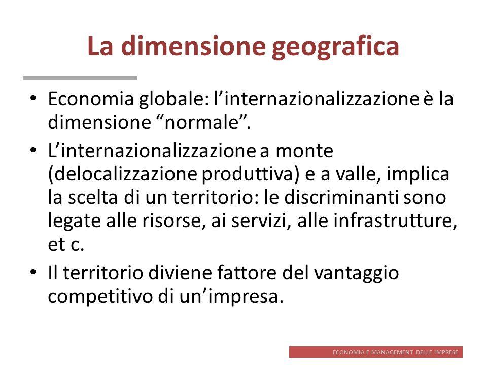 ECONOMIA E MANAGEMENT DELLE IMPRESE La dimensione geografica Economia globale: linternazionalizzazione è la dimensione normale. Linternazionalizzazion