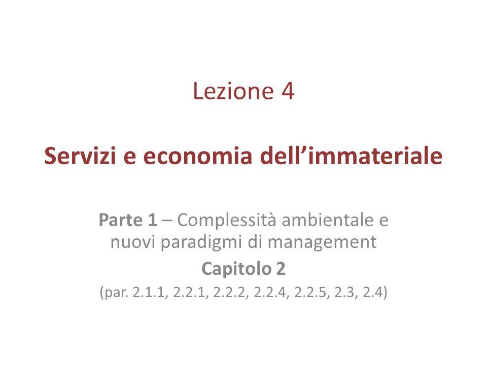 Lezione 4 Servizi e economia dellimmateriale Parte 1 – Complessità ambientale e nuovi paradigmi di management Capitolo 2 (par. 2.1.1, 2.2.1, 2.2.2, 2.