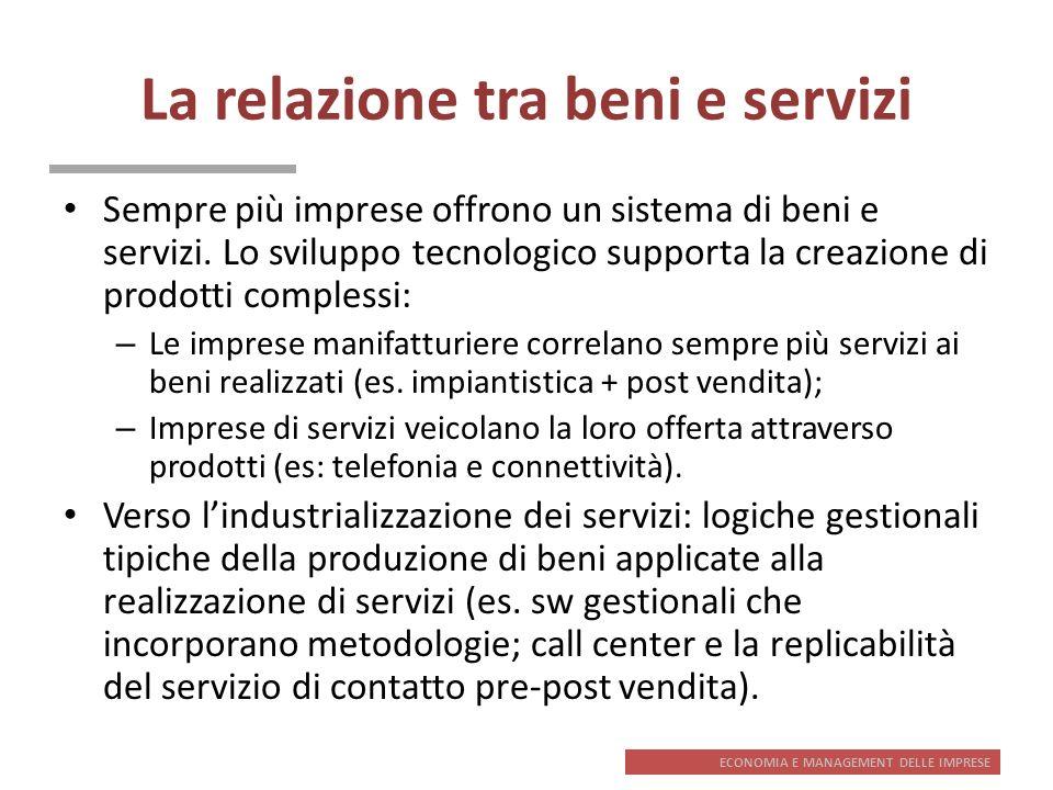 ECONOMIA E MANAGEMENT DELLE IMPRESE La relazione tra beni e servizi Sempre più imprese offrono un sistema di beni e servizi. Lo sviluppo tecnologico s