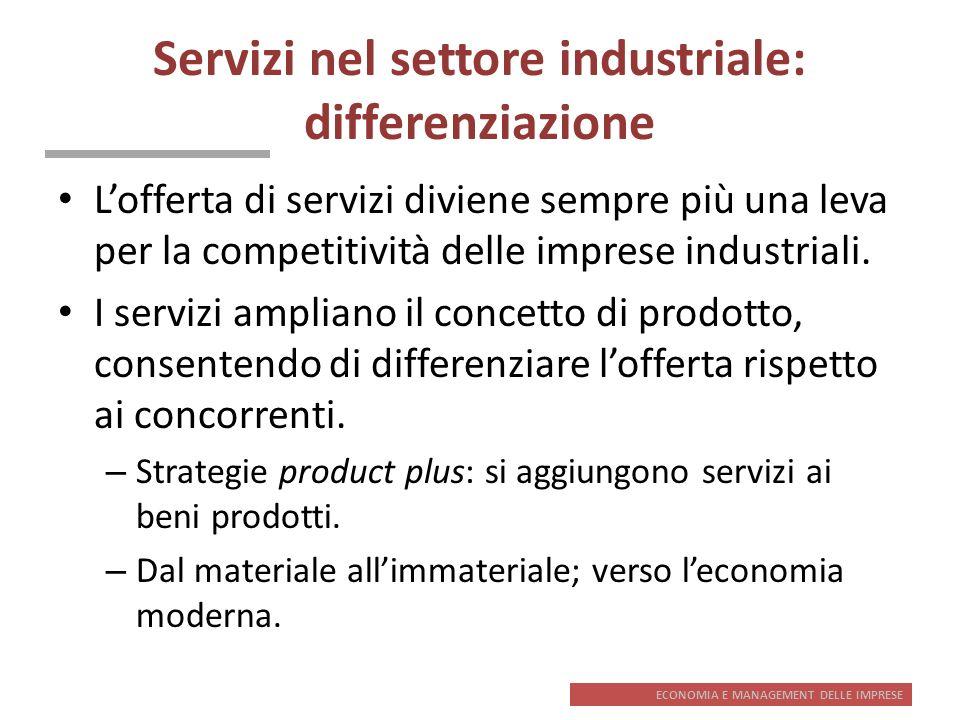ECONOMIA E MANAGEMENT DELLE IMPRESE Servizi nel settore industriale: differenziazione Lofferta di servizi diviene sempre più una leva per la competiti