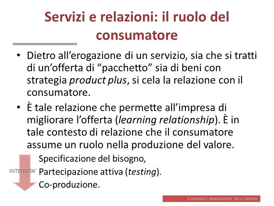 ECONOMIA E MANAGEMENT DELLE IMPRESE Servizi e relazioni: il ruolo del consumatore Dietro allerogazione di un servizio, sia che si tratti di unofferta