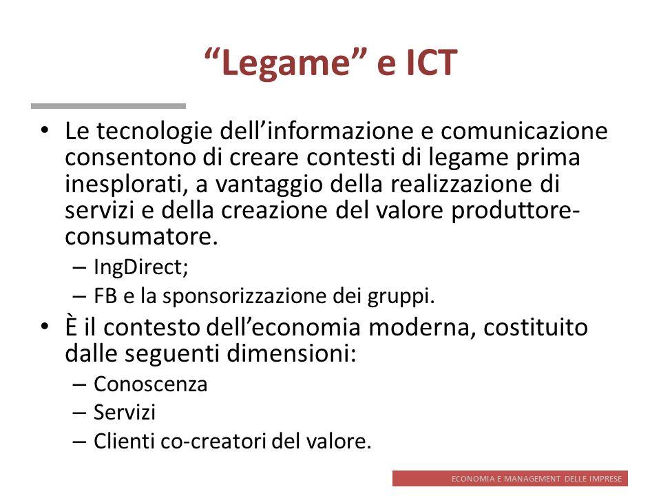 ECONOMIA E MANAGEMENT DELLE IMPRESE Legame e ICT Le tecnologie dellinformazione e comunicazione consentono di creare contesti di legame prima inesplor