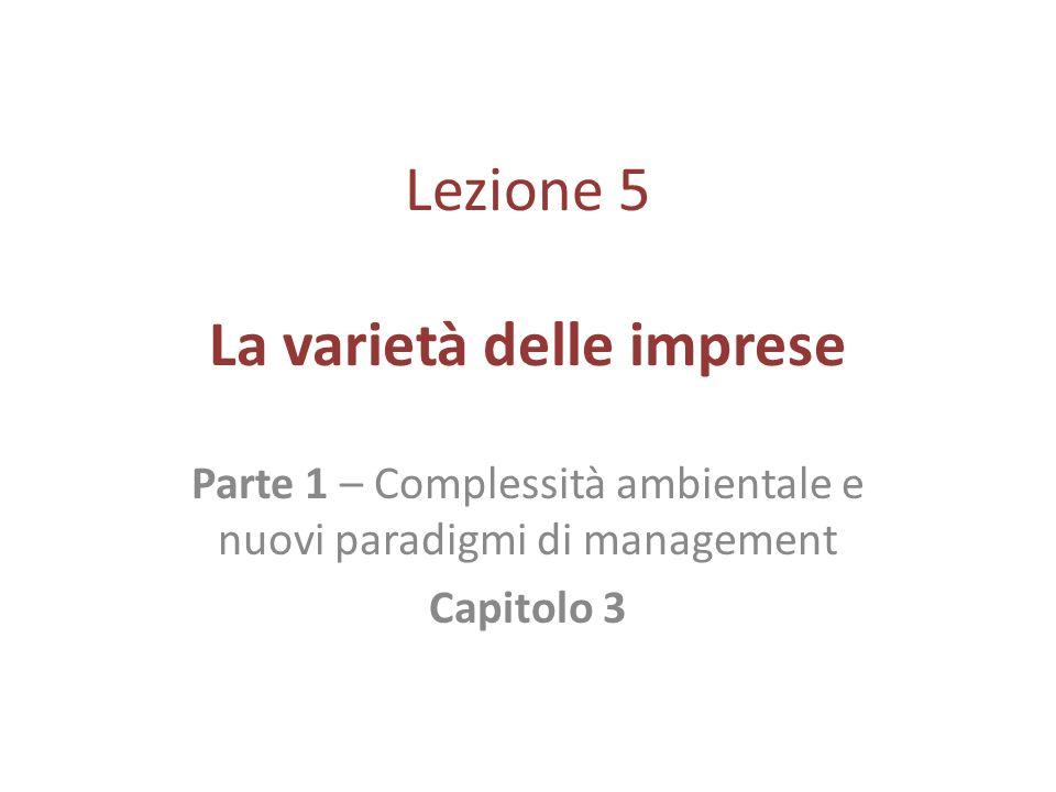 Lezione 5 La varietà delle imprese Parte 1 – Complessità ambientale e nuovi paradigmi di management Capitolo 3