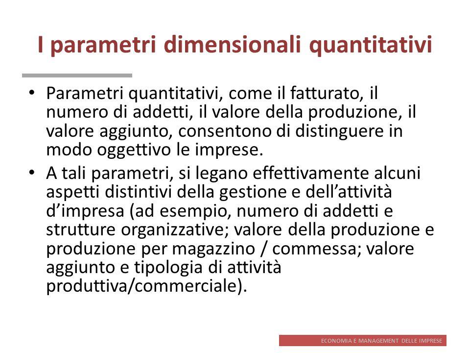 ECONOMIA E MANAGEMENT DELLE IMPRESE I parametri dimensionali quantitativi Parametri quantitativi, come il fatturato, il numero di addetti, il valore d