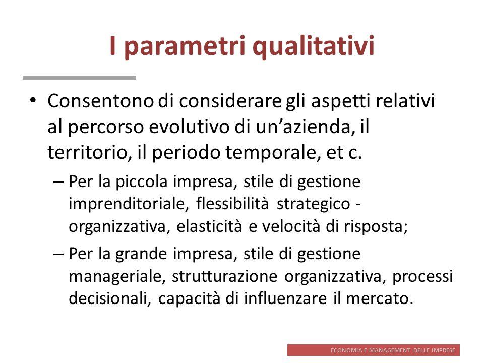 ECONOMIA E MANAGEMENT DELLE IMPRESE I parametri qualitativi Consentono di considerare gli aspetti relativi al percorso evolutivo di unazienda, il terr