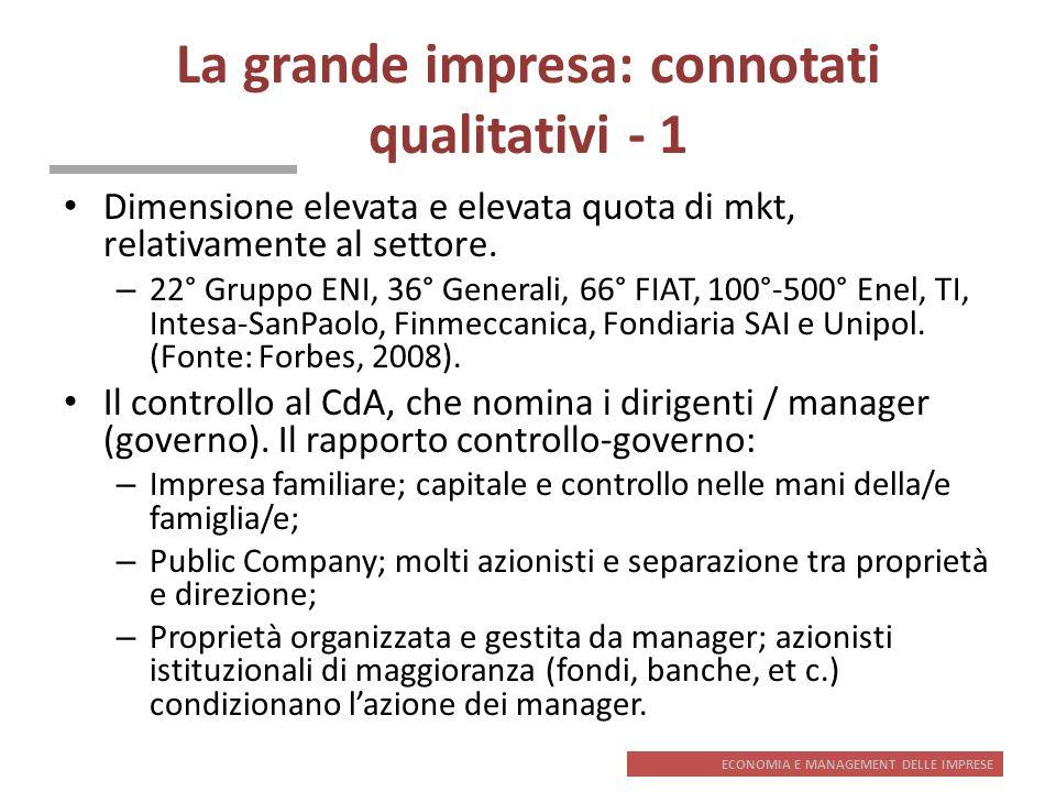 ECONOMIA E MANAGEMENT DELLE IMPRESE La grande impresa: connotati qualitativi - 1 Dimensione elevata e elevata quota di mkt, relativamente al settore.