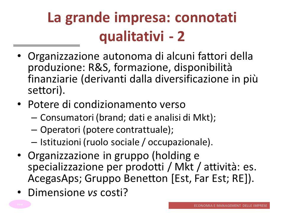 ECONOMIA E MANAGEMENT DELLE IMPRESE La grande impresa: connotati qualitativi - 2 Organizzazione autonoma di alcuni fattori della produzione: R&S, form