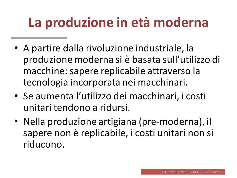 ECONOMIA E MANAGEMENT DELLE IMPRESE La produzione in età moderna A partire dalla rivoluzione industriale, la produzione moderna si è basata sullutiliz