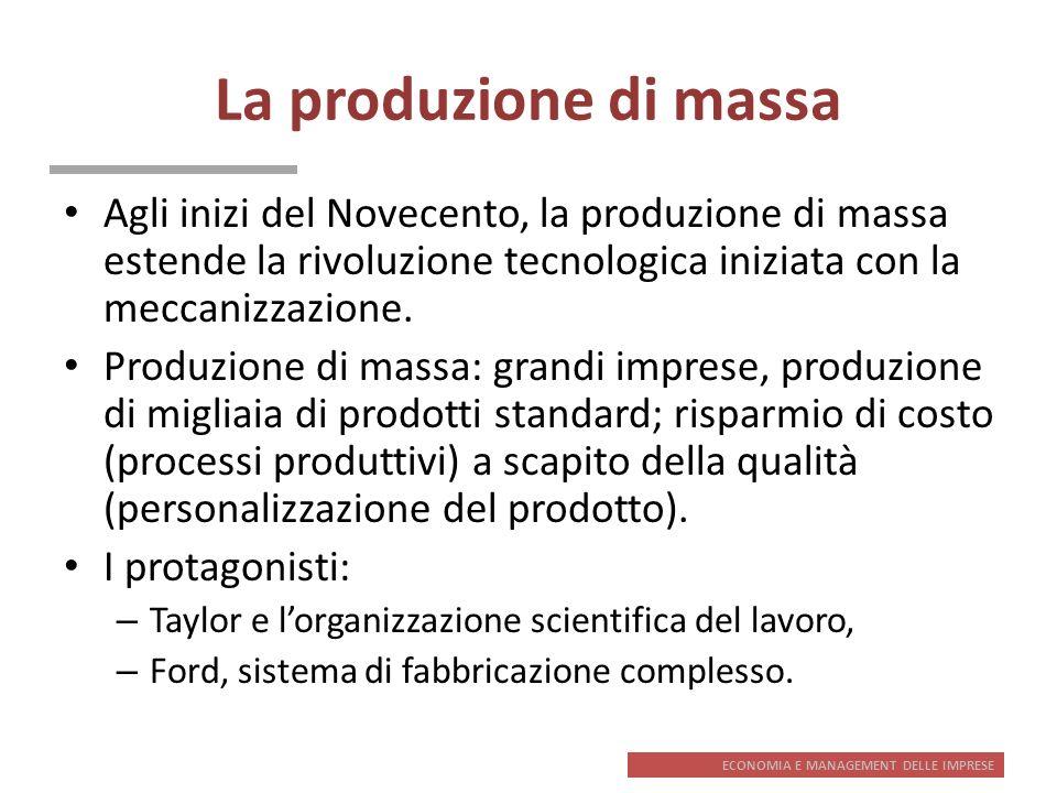 ECONOMIA E MANAGEMENT DELLE IMPRESE La produzione di massa Agli inizi del Novecento, la produzione di massa estende la rivoluzione tecnologica iniziat