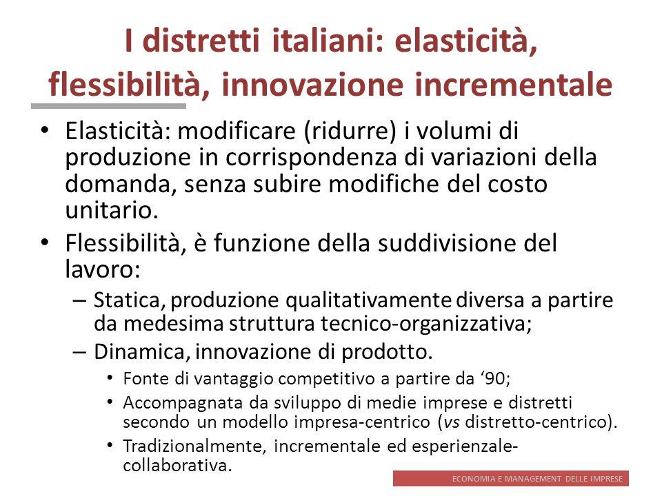 ECONOMIA E MANAGEMENT DELLE IMPRESE I distretti italiani: elasticità, flessibilità, innovazione incrementale Elasticità: modificare (ridurre) i volumi