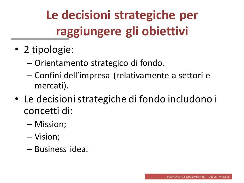 ECONOMIA E MANAGEMENT DELLE IMPRESE Le decisioni strategiche per raggiungere gli obiettivi 2 tipologie: – Orientamento strategico di fondo. – Confini