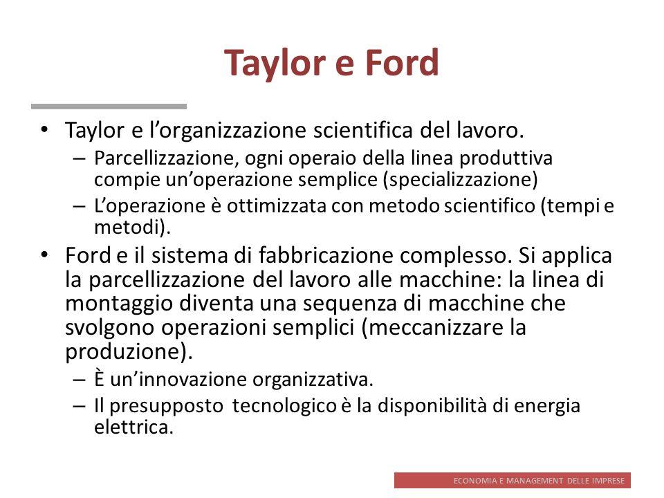 ECONOMIA E MANAGEMENT DELLE IMPRESE Taylor e Ford Taylor e lorganizzazione scientifica del lavoro. – Parcellizzazione, ogni operaio della linea produt