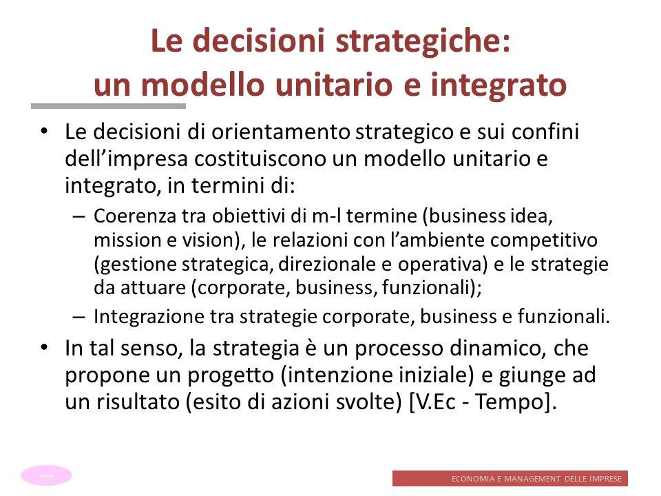 ECONOMIA E MANAGEMENT DELLE IMPRESE Le decisioni strategiche: un modello unitario e integrato Le decisioni di orientamento strategico e sui confini de