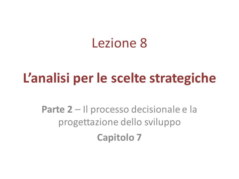 Lezione 8 Lanalisi per le scelte strategiche Parte 2 – Il processo decisionale e la progettazione dello sviluppo Capitolo 7