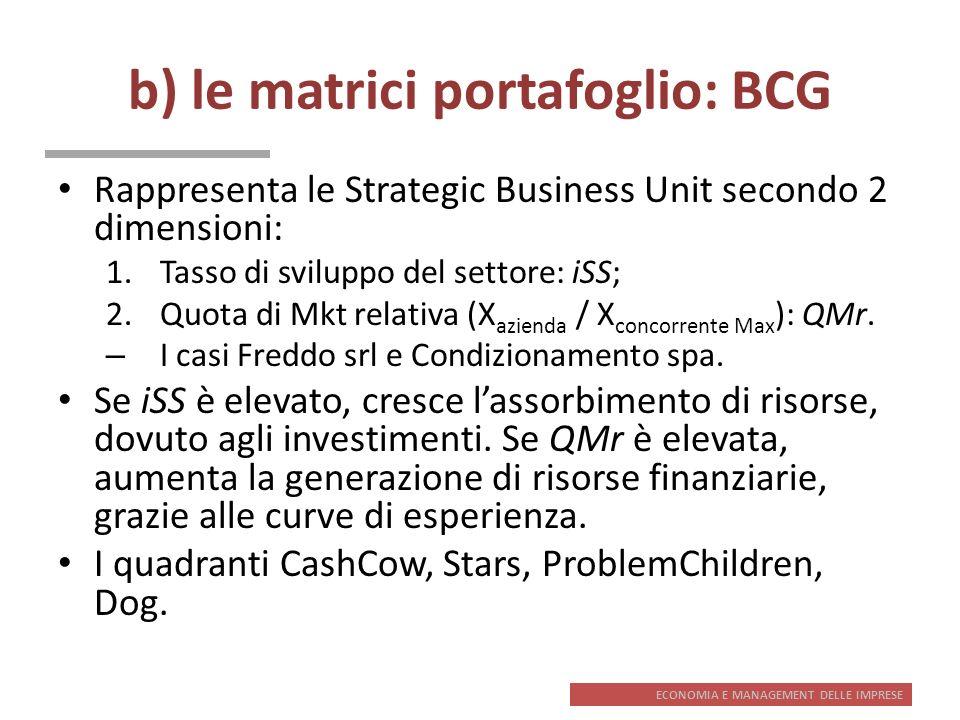 ECONOMIA E MANAGEMENT DELLE IMPRESE b) le matrici portafoglio: BCG Rappresenta le Strategic Business Unit secondo 2 dimensioni: 1.Tasso di sviluppo de